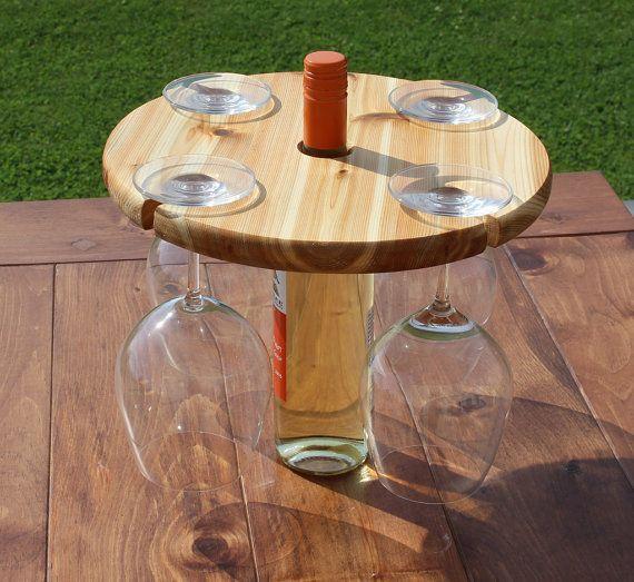 Cedar Wine Bottle and Wine Glass Caddy