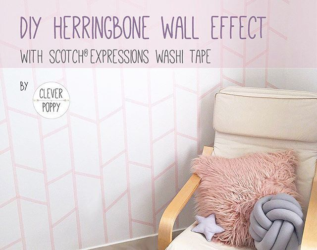 New DIY Project   How cool is this DIY Herringbone Wall Effect with Scotch Expressions Washi Tape? It's got to be one of the most effective projects I've done, and looks so amazing in any room of your home. Check out my blog to learn how to do this (link in profile)☝️