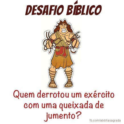 Resposta:Sansão, derrota mil filisteus com uma arma poderosa... A queixada de um jumento.(Juízes 15:10-20 )