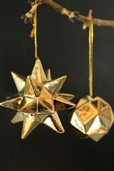 Set of 2 Gold Porcelain Star & Ball Baubles dia. 5.5cm