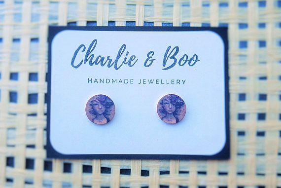 Stainless Steel 12mm Printed Wood Stud Earrings Girl Face Stud Earrings Australian Handmade Small Business Charlie and Boo