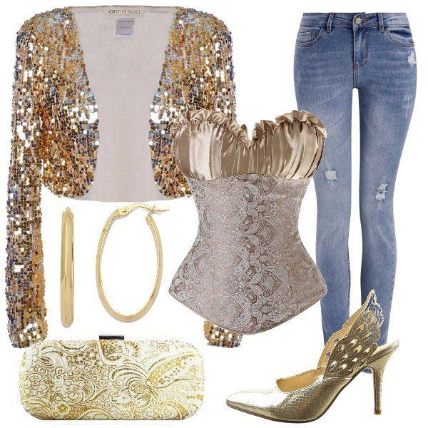 Osare per una sera, con un bustino con ricami da indossare con una giacca corta con pailletes e dei jeans leggermente sdruciti. Le scarpe sono delle décolleté, sempre dorate come la pochette e come gli orecchini grandi a cerchio, in oro giallo.