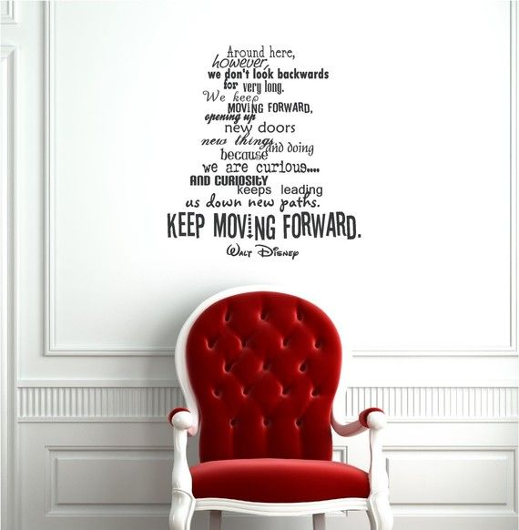 25x22 Keep Moving Forward Walt Disney Wallpaper Door Decoration Vinyl Decor Wall Lettering Words Quotes