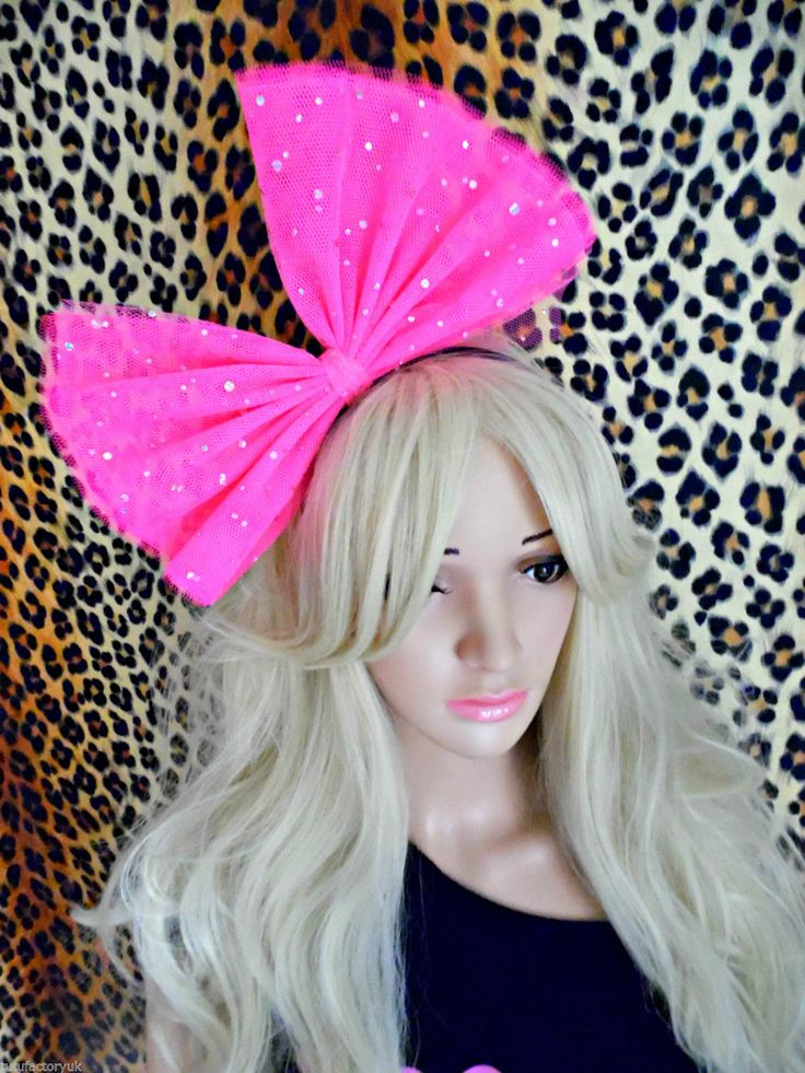 DESIGNER NEON MADONNA HAIR BOW SPARKLE HAIR BOW 1980S FANCY DRESS COSTUME BOW in Clothes, Shoes & Accessories, Fancy Dress & Period Costume, Fancy Dress   eBay