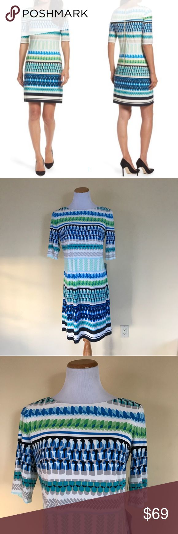 NWT Eliza J Striped Print Shift Dress NWT New with tag Eliza J Striped Print Shift Dress. Perfect as a career / work / office dress, for a night out, for brunch, etc. Super versatile! Beautiful vibrant colors. Size 12. Check out my closet for bundles! Eliza J Dresses