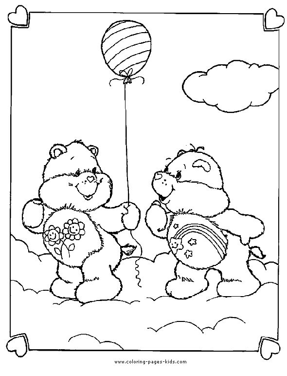 friend bear and wish bear care bears coloring sheet - I Can Be A Friend Coloring Page