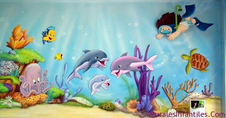 Mural marino mar manualidades pinterest marte - Mural pared infantil ...