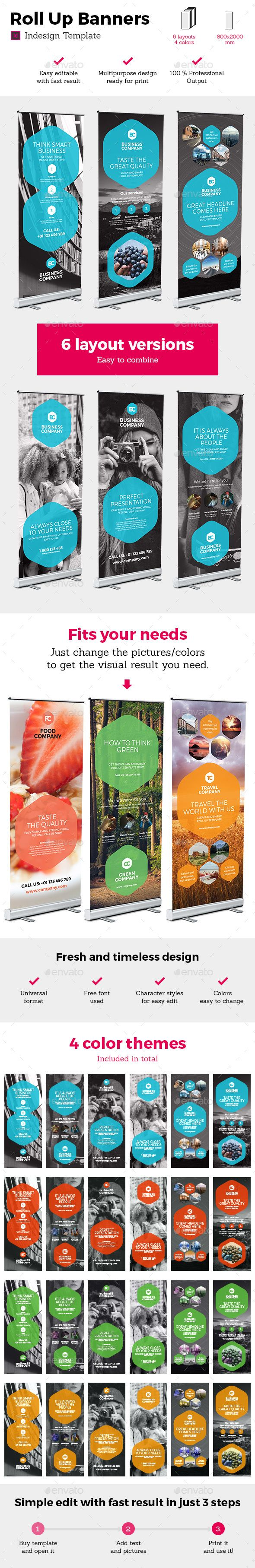 Rollup Stand Banner Display 24x Indesign — JPG Image #flat #corporate • Available here → https://graphicriver.net/item/rollup-stand-banner-display-24x-indesign-/15163369?ref=pxcr