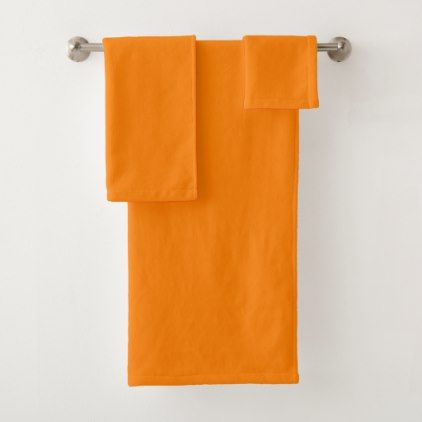 Orange Bath Towel Set - home gifts ideas decor special unique custom individual customized individualized