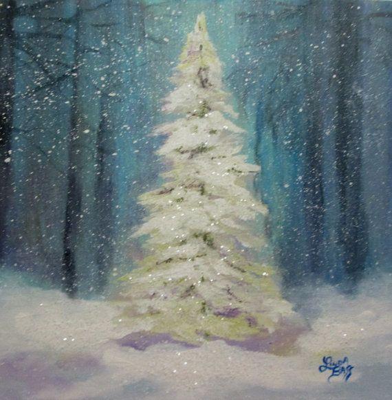 Arbre de Noël peinture Original par Followthepaintedroad sur Etsy