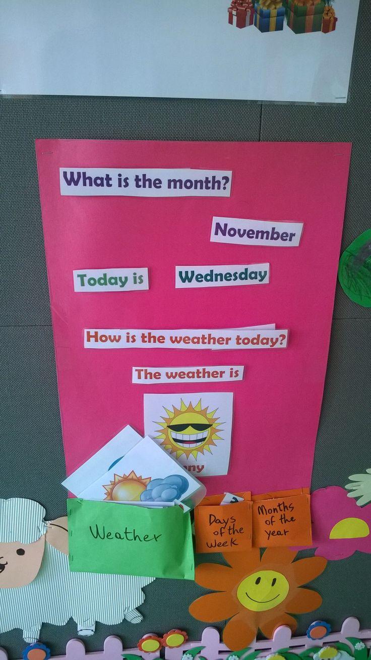 Facile tabella per aiutare i bambini a memorizzare mesi, giorni della settimana e il tempo.