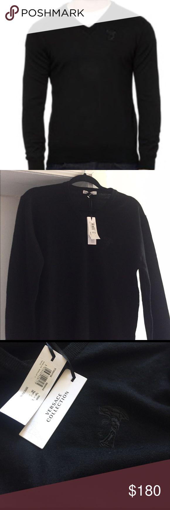 Authentic men's Versace sweater Black V neck sweater. Brand new Versace Sweaters