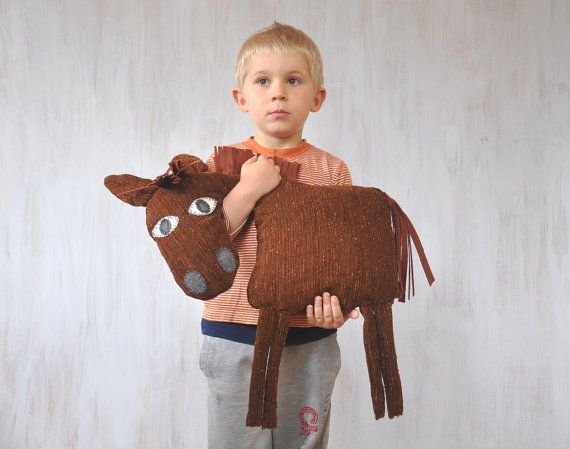 Horse Pillow Kids Room Decor Country House Summer by Florfanka