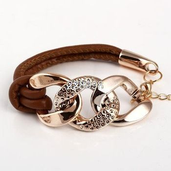 2014 venda quente novo estilo moda corrente de ouro pulseiras de couro feminino…