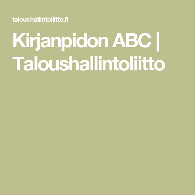 Kirjanpidon ABC | Taloushallintoliitto