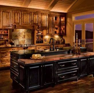 Kitchen with black rustic cabinets kitchen cabinets for Black onyx kitchen cabinets