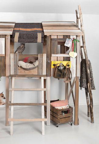 Boomhut kinderbed steigerhout voor de #kinderkamer | Wooden treehouse bed #kidsroom