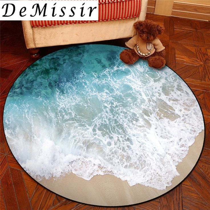 3D Sea Beach Round Carpet For Living Room Swivel Chair Pad
