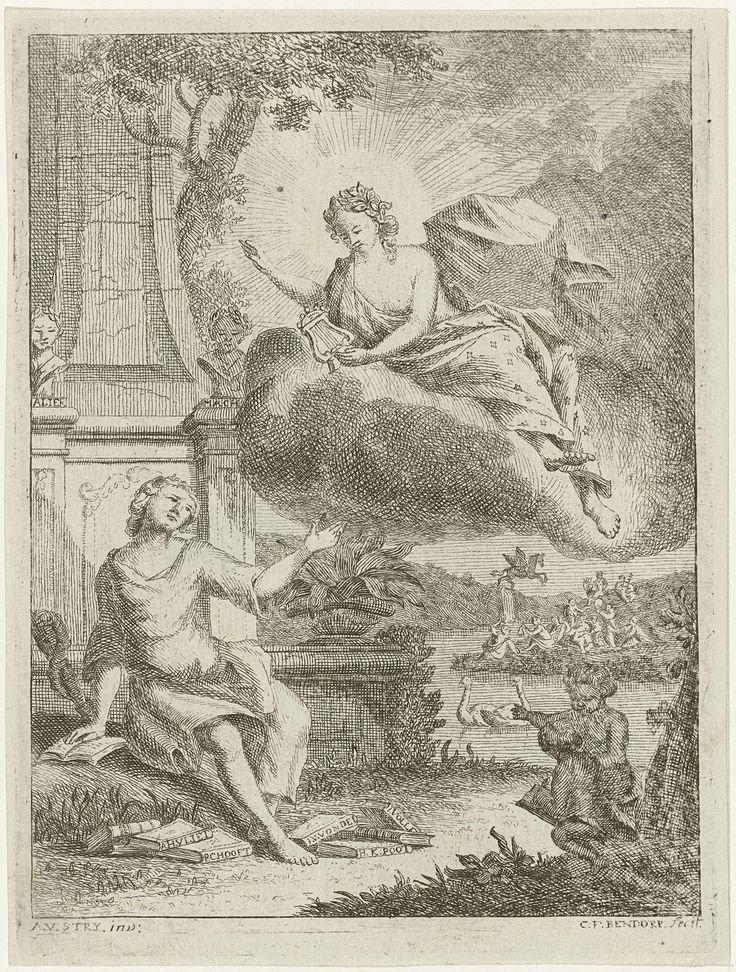 Carel Frederik Bendorp (I) | Dichter zit bij monument en ontvangt inspiratie van muze, Carel Frederik Bendorp (I), 1746 - 1814 | Een dichter zit bij een monument met verschillende dichtbundels van bekende dichters, zoals Joost van den Vondel en P.C. Hooft, op de grond voor zijn voeten. Op een wolk verschijnt een muze spelend op een lier, mogelijk Erato. Op de achtergrond zitten de muzen op de berg Parnassus en Pegasus nadert hen.