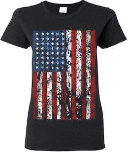 Women's Vintage American Flag T-Shirt.