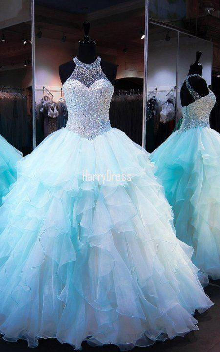 Blue Ball Gown Scoop Neck Tulle Floor Length Crystal Open Back Prom Dress