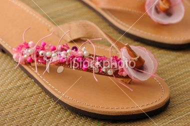 Sandal Decorated with Jewelry Beads Royalty Free Stock Photo