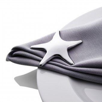 #design3000 Adhoc Tischschmuck Starfish - 4 magnetische Seesterne aus hochglänzendem Metall.