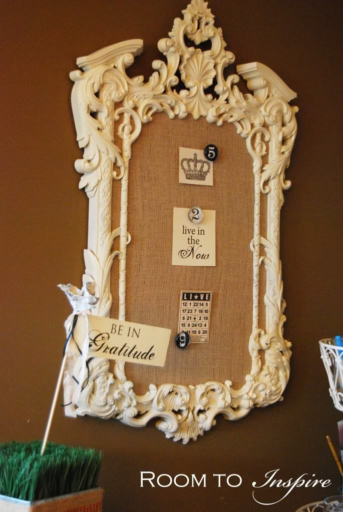 DIY Cork Board ~ Old frame, spray paint, glue tiles of cork to foamcore, cut to size, wrap in burlap, attach. Beautiful