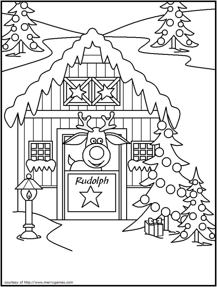 FREE Printable Christmas Coloring Pages - Reindeer