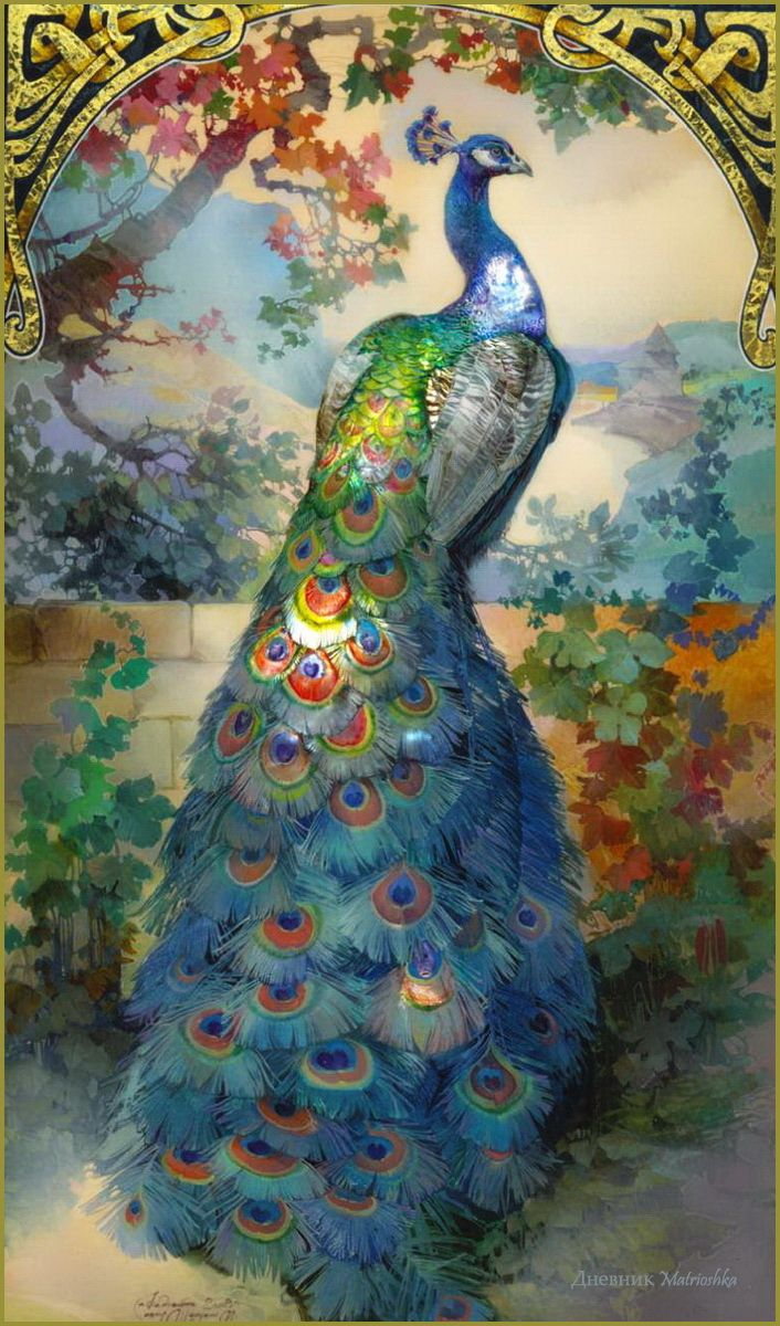 Peacock. Michail  Shelukhin. Lacquer art from Fedoskino.