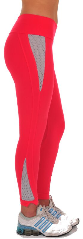 "Bia Brazil Dash Legging – These trendy leggings have inserted mesh on outer hip and lower leg to help keep you cool during your workout. Leggings end in a 1"" band that splits on outer ankle. Has 3"" waistband. Low-rise. #LE 2814 Supplex/Lycra  Colors: Coral/Gray (shown), Black/Fuchsia, Black/Red, Black/White, Black/Black, Charcoal/Gray, Royal/White, Violet/White  Price: $69.95"