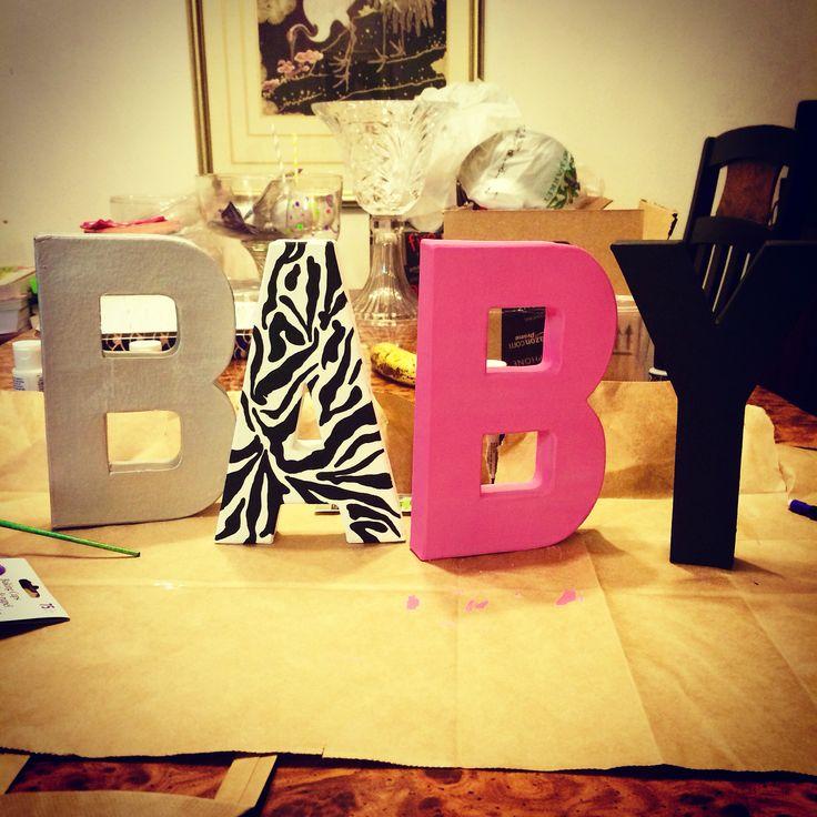 Baby Shower Letters, Painted Letters, Custom Painted Letters, Zebra Themed Baby Shower, Pink, Silver, Black and Zebra Baby Shower Theme, Jungle Baby Shower   www.kokochaneldesigns.com