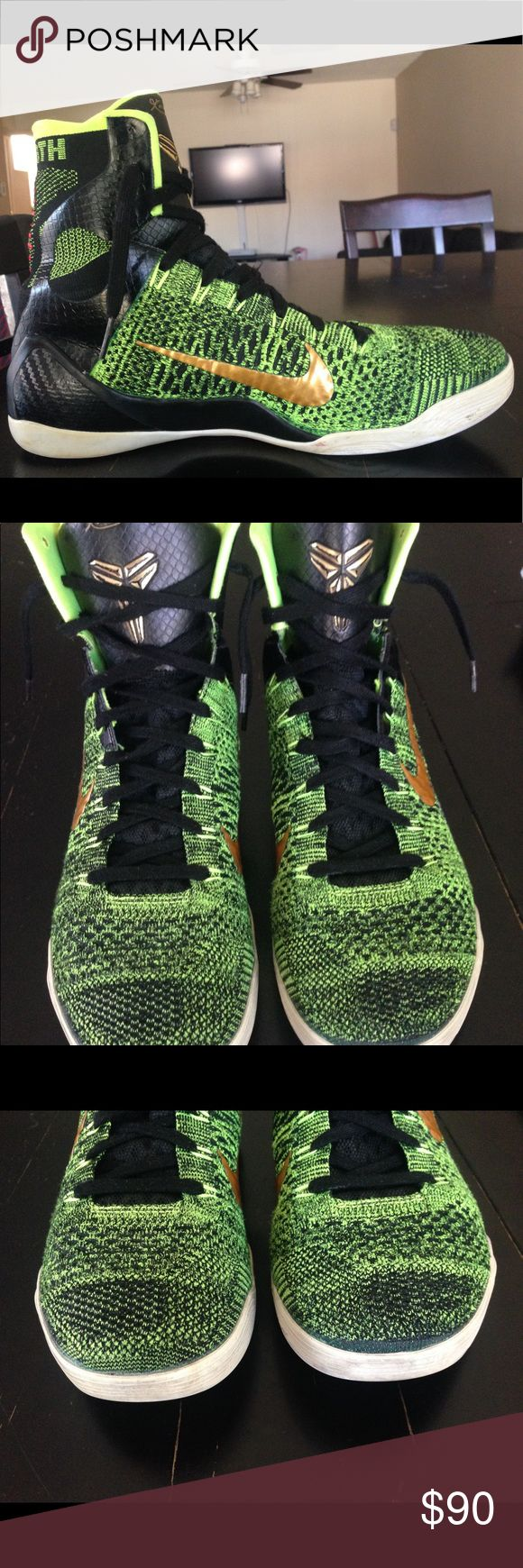 Kobe9 Elite Highs (Victory) - Basketball Shoe Indoors court worn ONLY! Clean and in great condition. No dirt, torn, nor ANY damage to the Fly Knit material.  Beautiful shoe that will catch tons of attention, a KB9 Classic. Nike Shoes Athletic Shoes