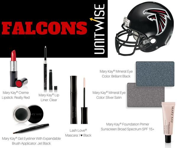 #NFL #Falcons #MaryKay  Game Day Inspiration - Atlanta Falcons Contact me today to help you achieve your Favorite NFL Team look!   Jennifer Emanuel Mary Kay Sales Director Cell/Text: 214-405-2512  Email: jennemanuel@sbcglobal.net