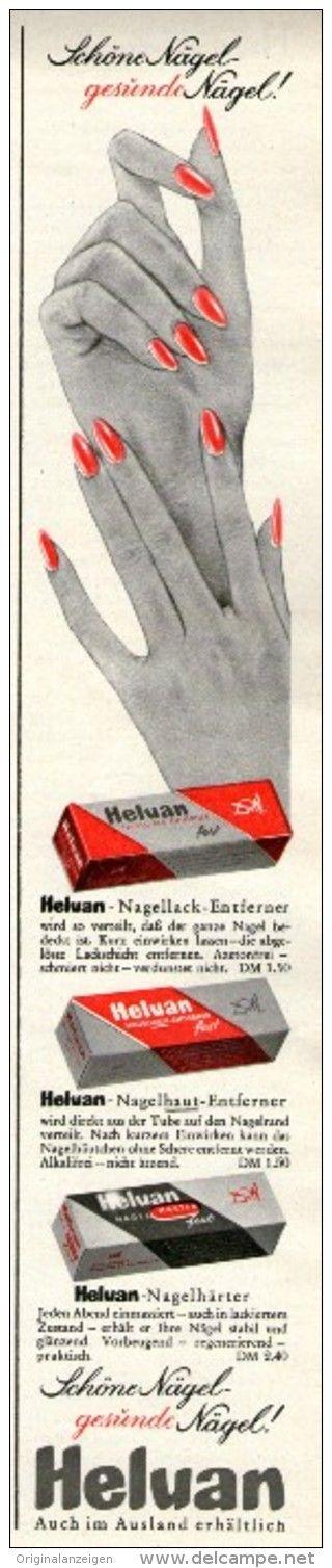 Original-Werbung/Inserat/ Anzeige 1960 - HELUAN NAGELLACK-ENTFERNER - ca. 290 X 50 mm