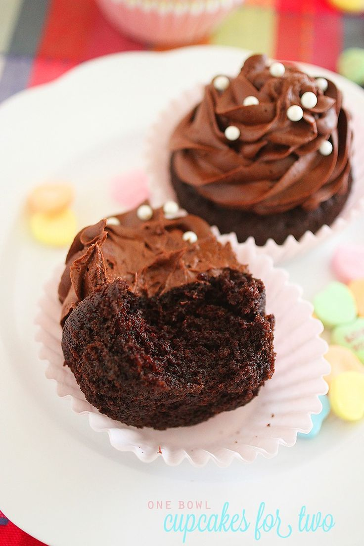 One Bowl Chocolate Cupcakes for Two