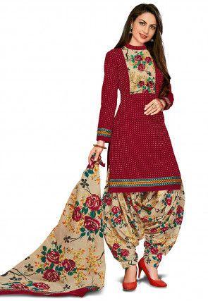 69fc52bde6 Printed Cotton Punjabi Suit in Maroon | ABDUL HAMEED in 2019 ...