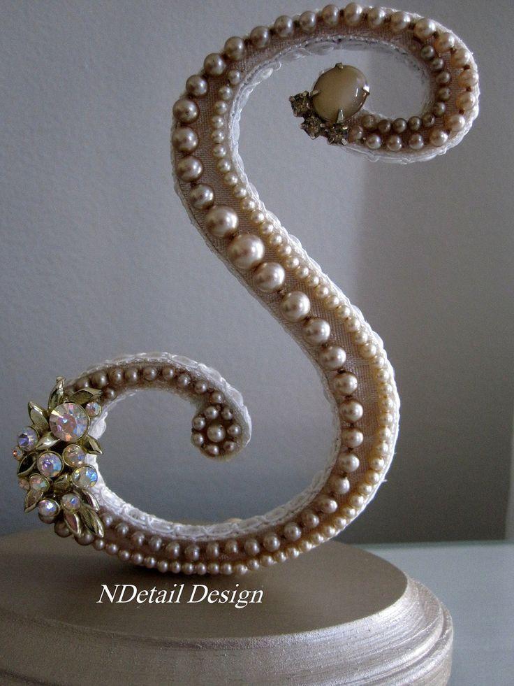 "Cake Topper Inspiration - Monogrammed Custom Vintage Pearl Wedding Cake Topper & Display: Antique Bridal Accessories ""417 Bride"". $65.99, via Etsy."