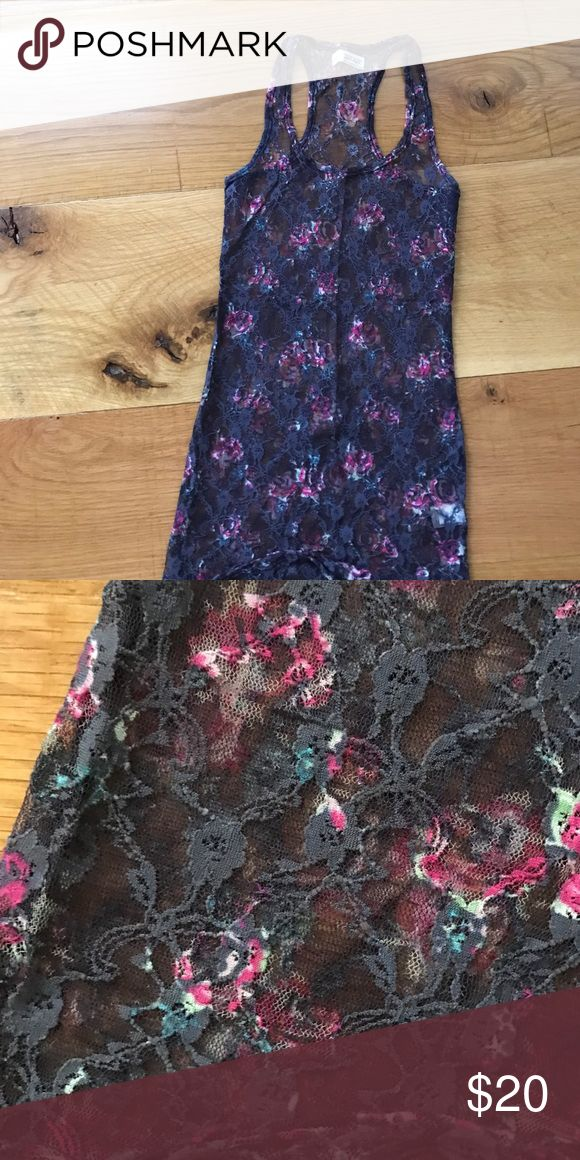 Floral lace tank top super cute see through top! never worn, perfect condition. Brand is Garage, listed as free people for exposure! Free People Tops