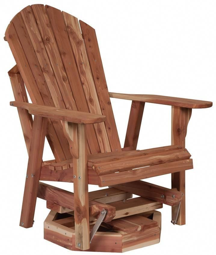 Amish Cedar Wood Adirondack Swivel Glider Rustic Outdoor Furniture Outdoor Wood Furniture Adirondack Chair