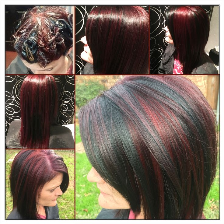 Pinwheel hair color 3 colors! It's really cool, looks like a different color which ever way you flip it