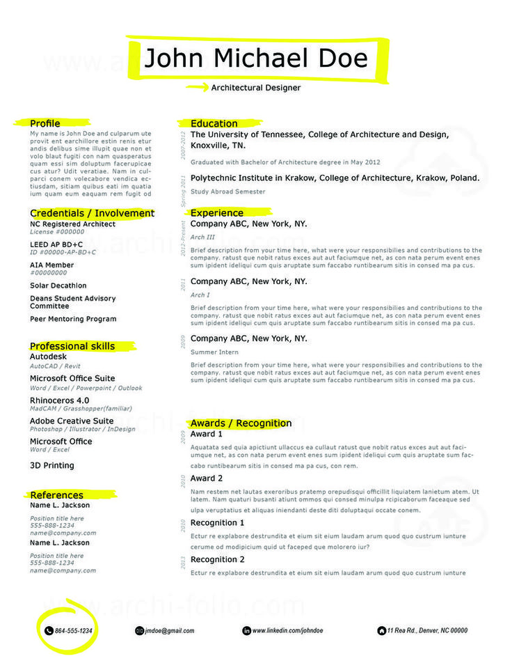 Best Resumes  ArchitectureInterior DesignGraphic Design