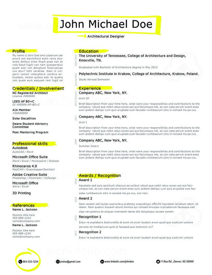 resume templates 166 best resumes architectureinterior designgraphic design interior design