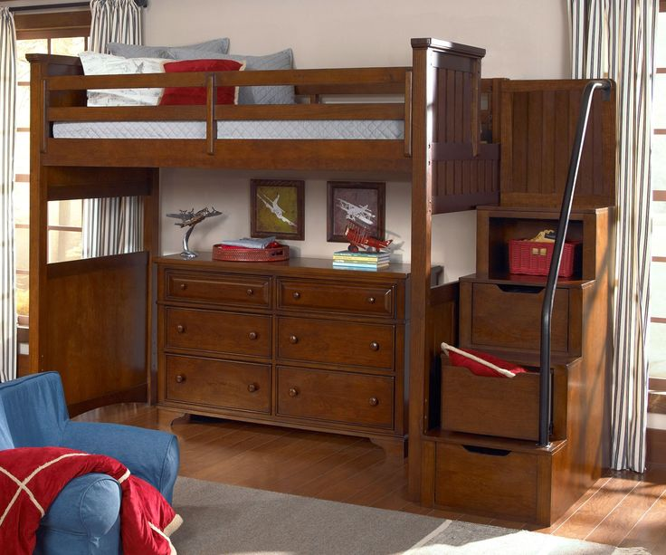Legacy Classic Kids Furniture Dawson's Ridge collection Full Size Loft Bed with Stairs 2960-8520K