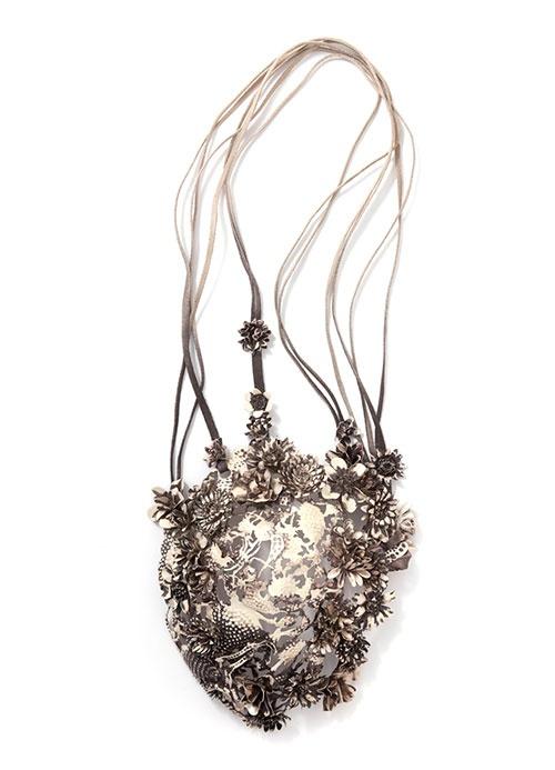Hanna Hedman  Necklace: Black Bile 2013  Silver, leather, copper, steel, paint  65 x 22 x 9.5 cm  Photo: Sanna Lindberg