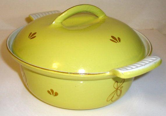 Vintage Yellow Enamelware Cast Iron Casserole Dish, Vintage Dru Casserole Dish, DRU Holland Dutch Oven