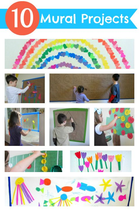10 different murals to make with kids. Great for all day long projects, cooperative play and to decorate your playroom.