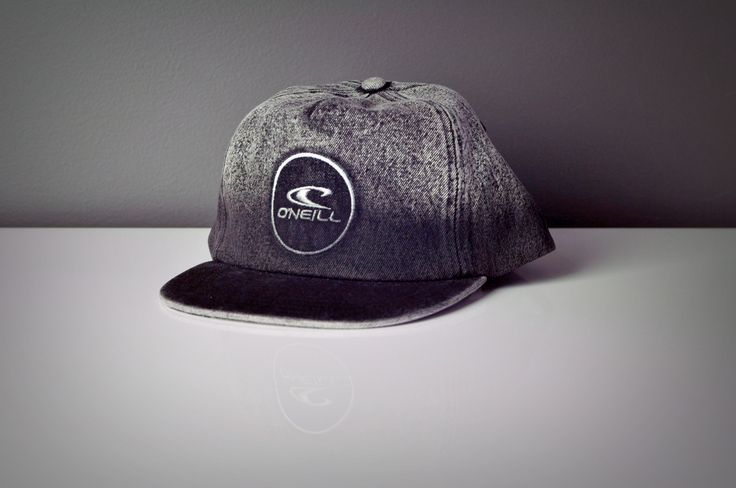 Black Dip Dye Denim Six Panel Flat Peak Cap