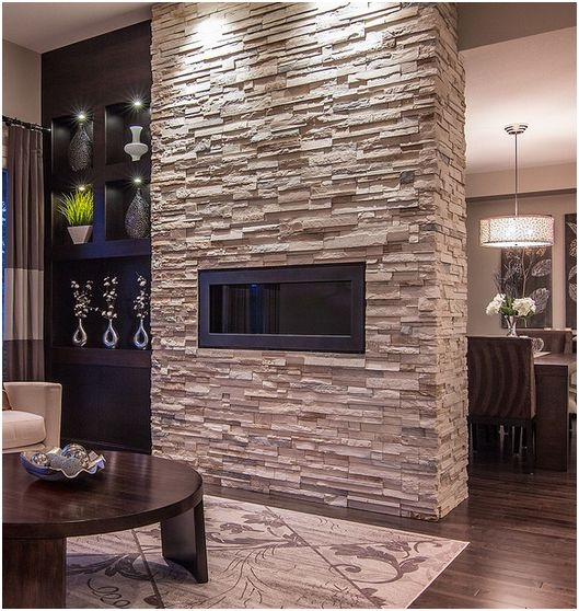 Light stone and dark built-ins