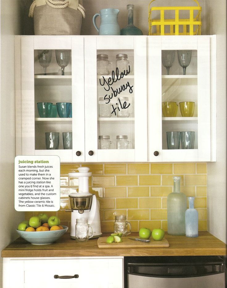 "Yellow subway tile was featured in HGTV Magazine. I'm in love with it. 3""x6"" Clare Gold (crackled) custom tile.  http://www.classictileandmosaic.com/"